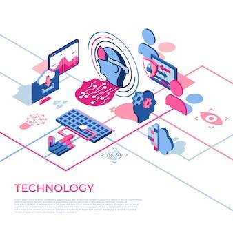 Иконки технологий виртуальной реальности с людьми