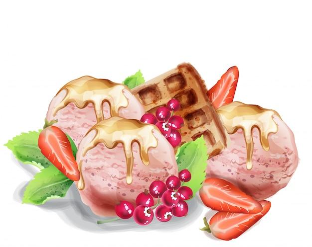 Мороженое черпает акварелью