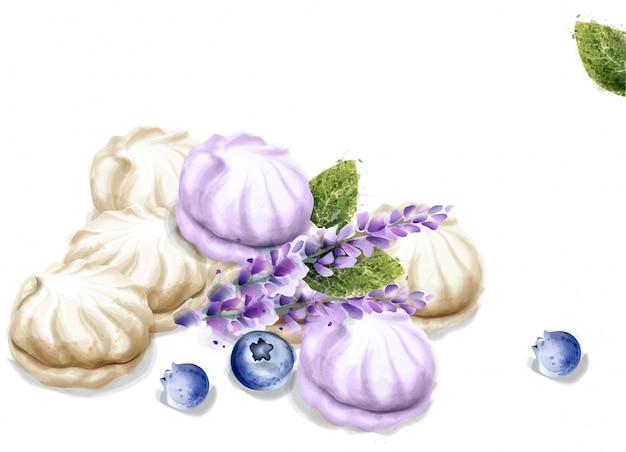 メレンゲの水彩画。ラベンダー風味のデザート