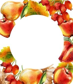 リンゴ、梨、桃の水彩画と秋の背景