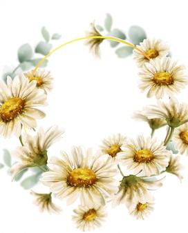Цветы ромашки свадебный венок акварель