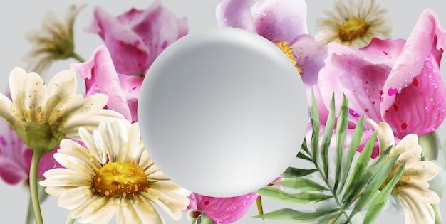 春夏の結婚式のカードの花の水彩画