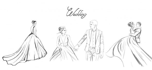 結婚式のカップルのラインセット。花嫁のシルエットのビンテージスタイル。美しいロングドレス。