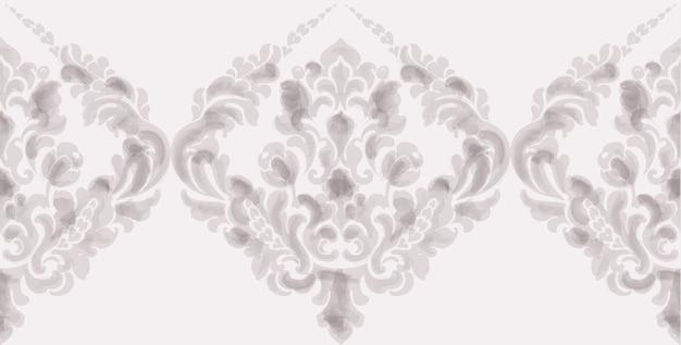 古典的なエレガントな飾りパターンの水彩画。ベージュの繊細な色のテクスチャ