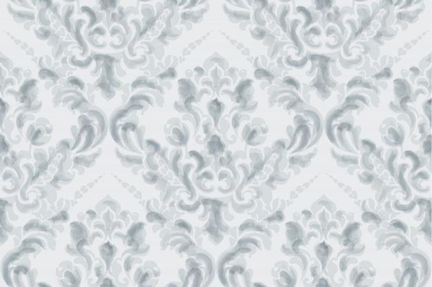 古典的なエレガントな飾りパターンの水彩画。青の繊細な色のテクスチャ