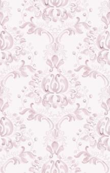 古典的なエレガントな飾りパターンの水彩画。ピンクの繊細な色のテクスチャ