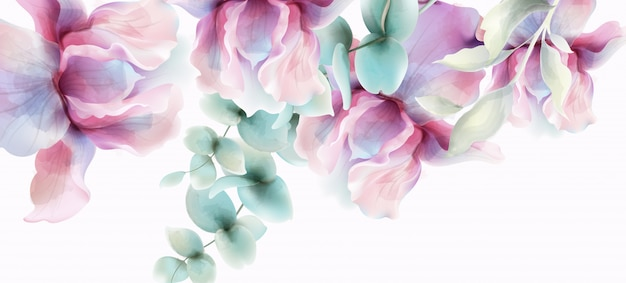 透明な花の水彩画。プロヴァンスの素朴なポスター。ウェディングカード、誕生日式イベント装飾