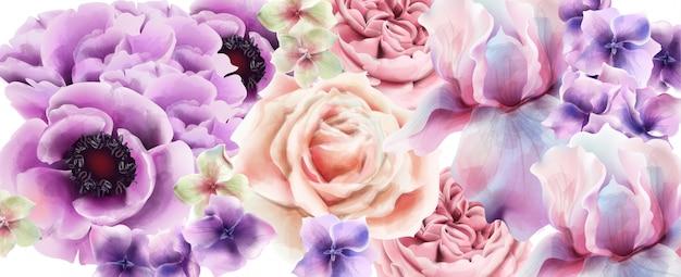 紫の花の水彩画。プロヴァンスの素朴なポスター。ウェディングカード、誕生日式イベント装飾