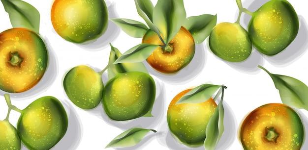 アップルフルーツ柄の水彩画。トップビュー秋の収穫