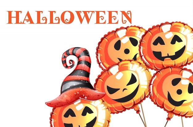 Хэллоуин тыква счастливые лица акварель. улыбающиеся тыквенные ведьмы