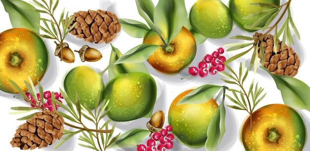 秋の収穫パターンの水彩画。秋のリンゴ果実の装飾ポスター