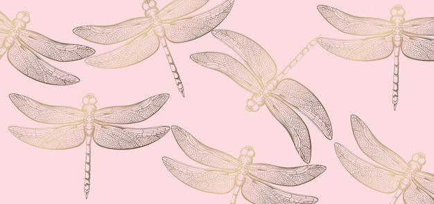 Стрекоза золотой узор линии искусства. текстура блестящих декоров