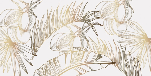 Пальмовые листья узор золотой тропик линии искусства. летний постер экзотических украшений