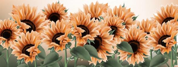 ひまわりの水彩画。ヴィンテージの素朴なスタイルの花の装飾