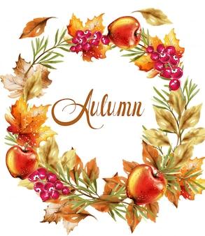 秋の収穫花輪カード。秋のキノコと果物の装飾ポスター