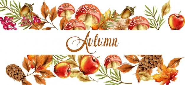 秋の収穫のバナー。秋のキノコと果物の装飾ポスター