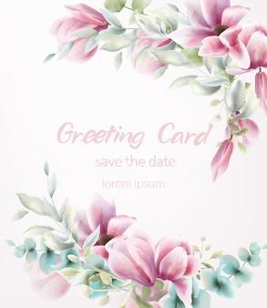 ピンクの花の花束の水彩画。青は繊細な装飾を残します。