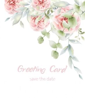 ピンクのバラの花カード水彩画。プロヴァンスの素朴なポスター