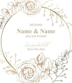 バラの花ラウンドカードラインアート。ヴィンテージレトロなスタイルの結婚式の招待状や挨拶