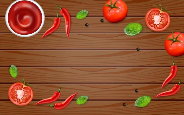 チリとトマトの木製テーブル