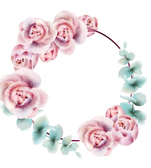 バラの花輪フレーム水彩