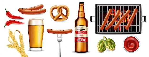 ビール、プレッツェル、グリルソーセージ