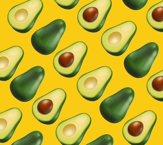 Авокадо узор желтый яркий фон