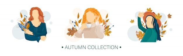 女性秋のフラットスタイルのキャラクターコレクション