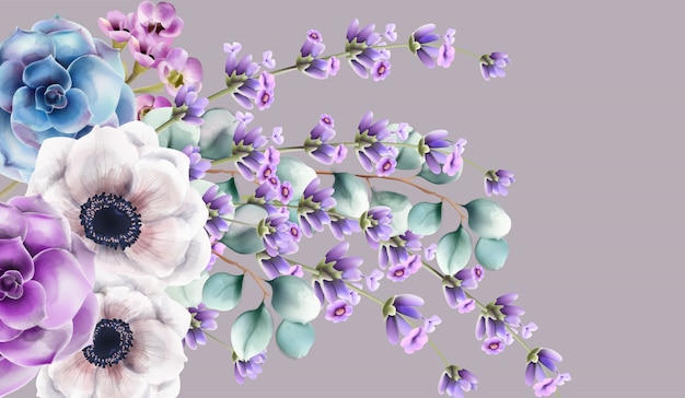 Букет дикой природы с акварельными цветами
