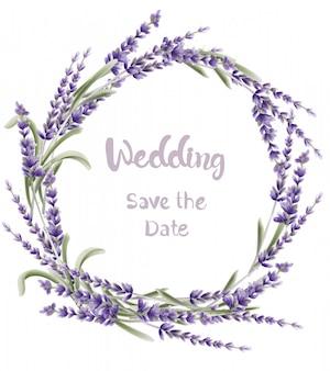 Лаванда свадебная открытка акварель