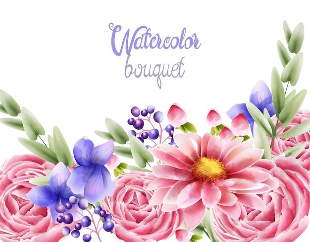 バラのデイジーと蘭の花の水彩画の花束