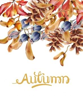 Осенняя открытка с букетом цветов