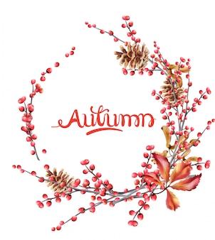 Осенняя открытка с лесными ягодами