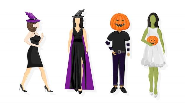 ハロウィーン衣装の人々のセット
