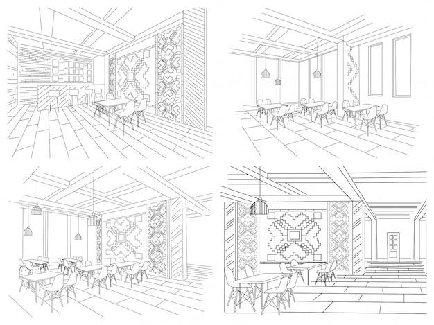 モルドバのレストランのインテリアのインテリアスケッチ