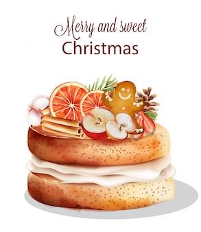Сладкий рождественский торт с праздничными украшениями