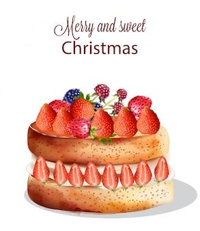 イチゴと他の果物の甘いクリスマスケーキ
