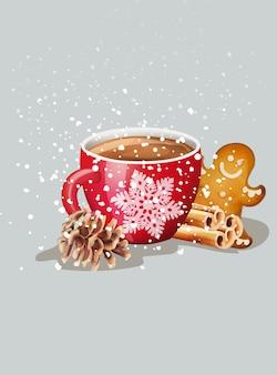 Красная чашка с горячим шоколадом и рождественские украшения
