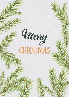 針葉樹とメリークリスマス組成の葉します。