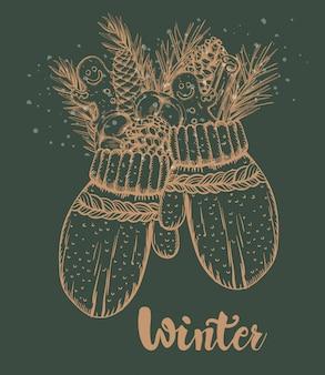 Зимние варежки с елочными украшениями