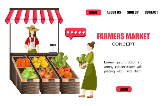 Шаблон сайта с женщиной, продающей овощи на открытом воздухе