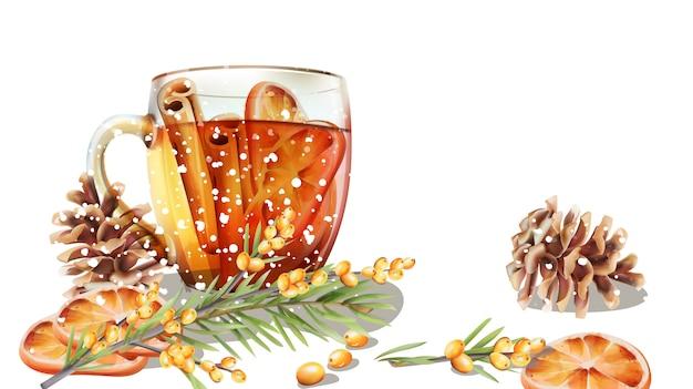 冬のシナモンとオレンジのスライスとお茶のカップ