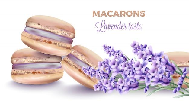ラベンダーとフランスのマカロンのお菓子