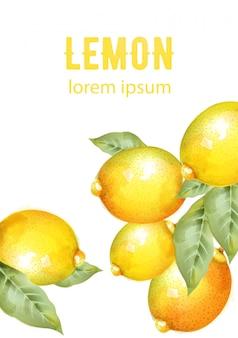 緑の葉と水彩の黄色いレモン