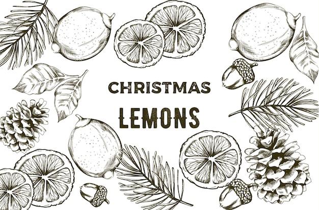 緑の葉とスケッチスタイルイエローレモン