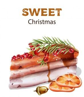 上の赤い果実と甘いクリスマスケーキ