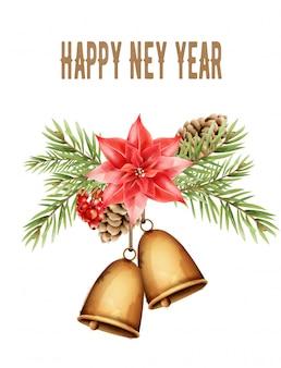 С новым годом композиция с колокольчиком