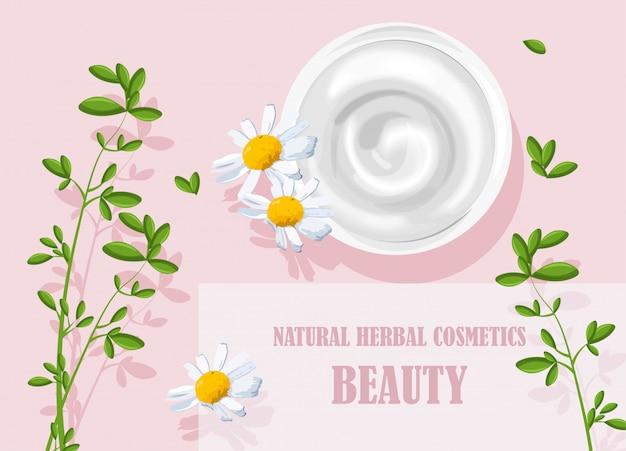 カモミールの花飾り付きの天然ハーブ化粧品クリーム
