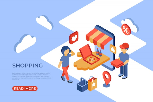 Торговый интернет-магазин изометрической целевой страницы со счастливыми покупателями