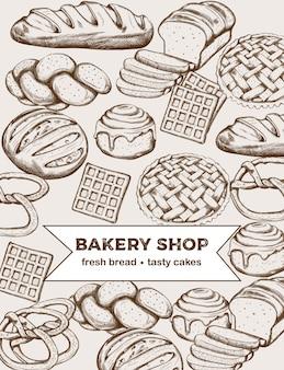さまざまな種類のパンやケーキを含むベーカリー製品のラインアートセット